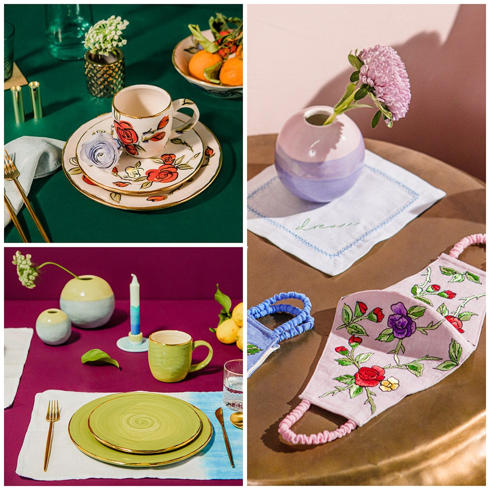 A collage of three images. From top left: rose dishes; a bud vase and embroidered flower mask; a place setting with green dishes and ombré blue table linens.