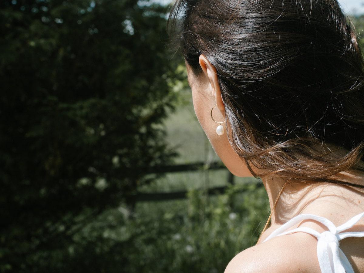 Pearl hoop earrings from EVREN