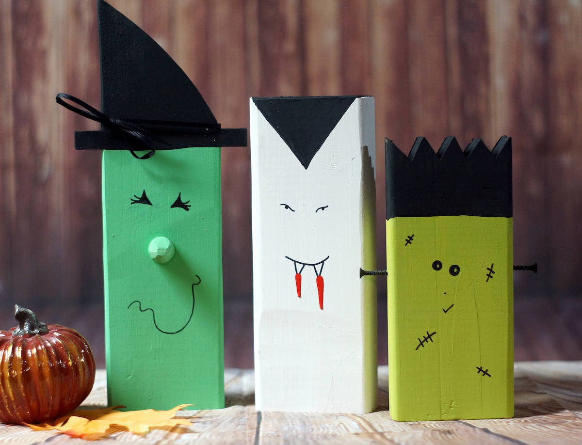 Wooden witch, vampire, and monster from GFT Woodcraft