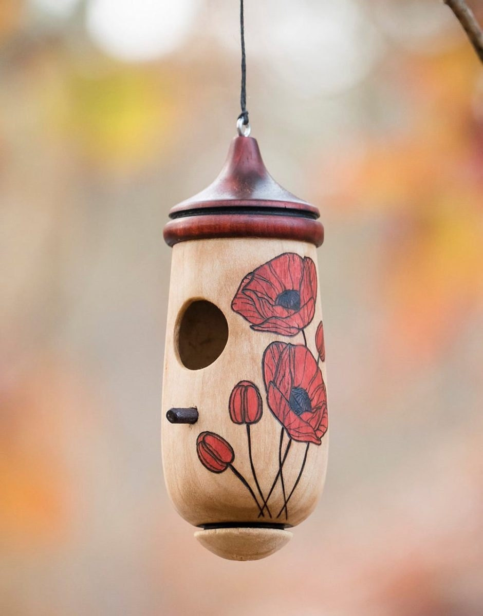 Poppy hummingbird house nester from Turning Tree Workshop