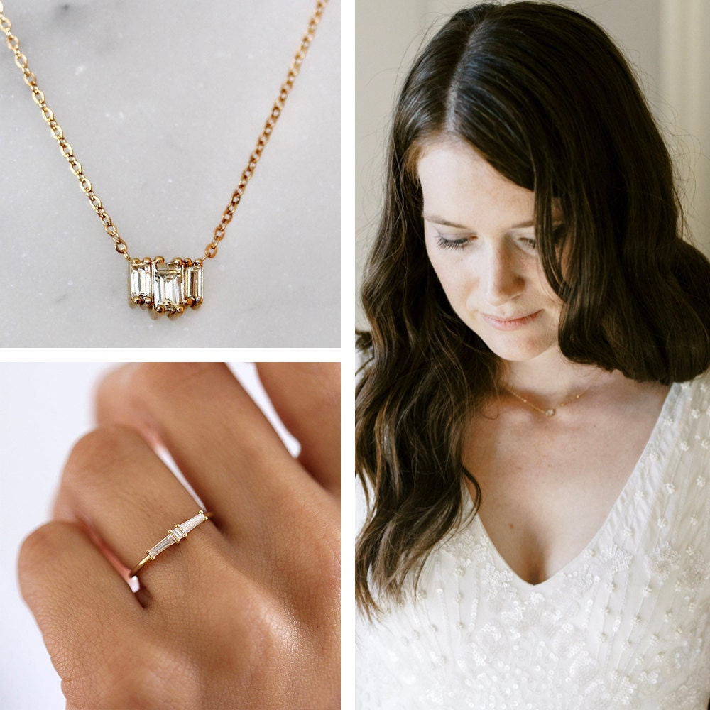 A collage of Megan's wedding jewelry, available to shop on Etsy.