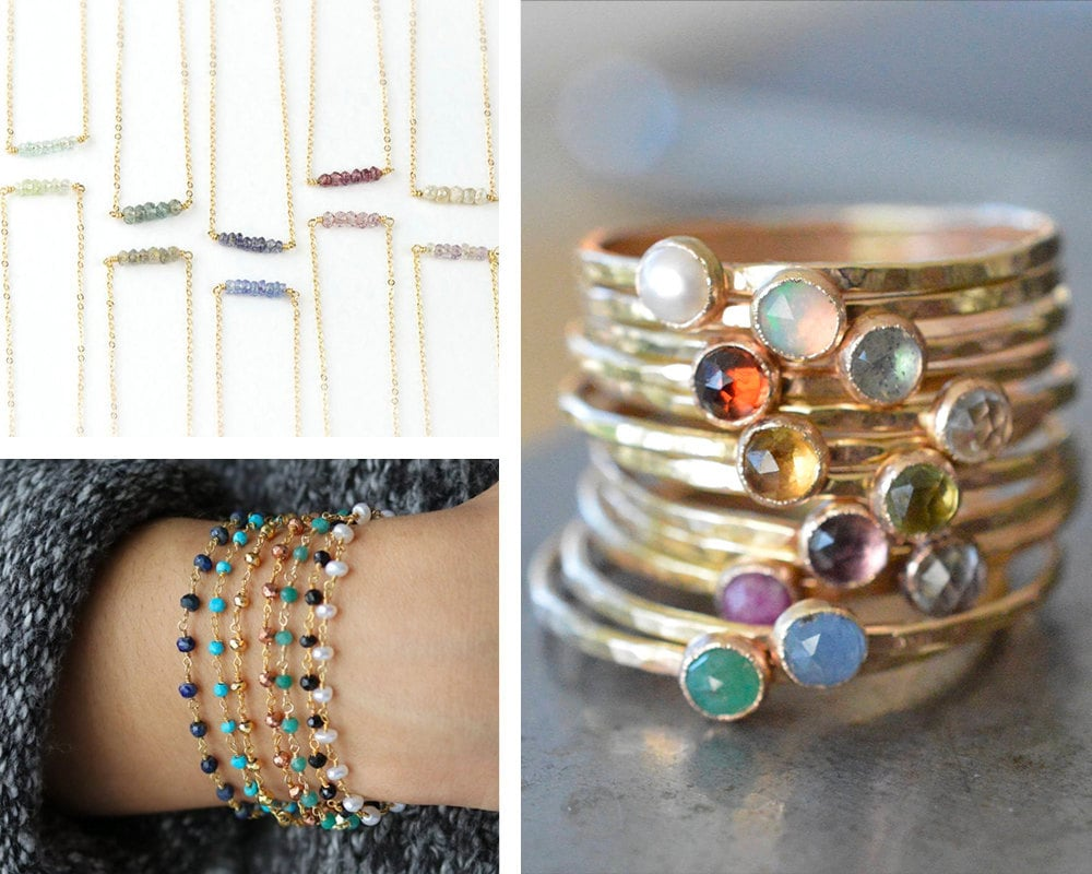 A collage of stacking necklaces, bracelets, and rings from Etsy