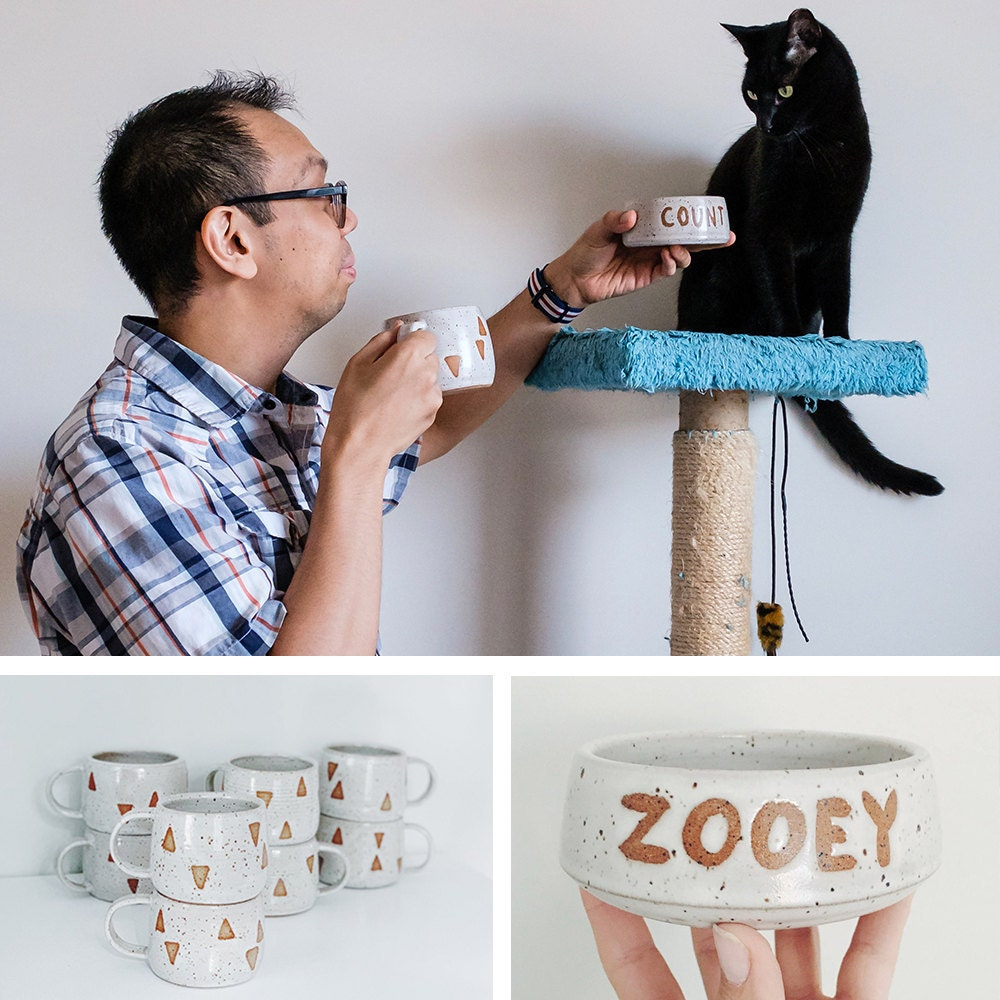 A collage of a man and his cat modeling their matching mug and cat bowl