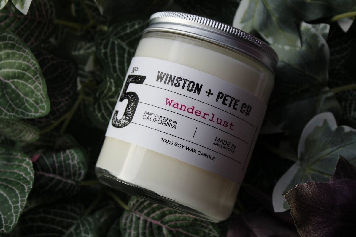 Wanderlust candle from Winston + Pete Co., on Etsy