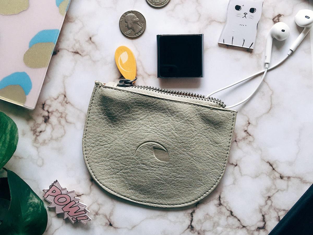 Vegan leather mini zipper pouch