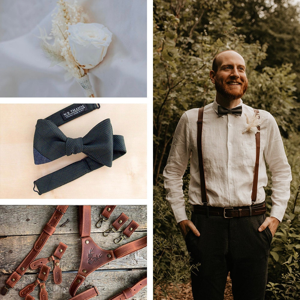 A collage of Chris's lapel pin, tie, and suspenders, available to shop on Etsy.