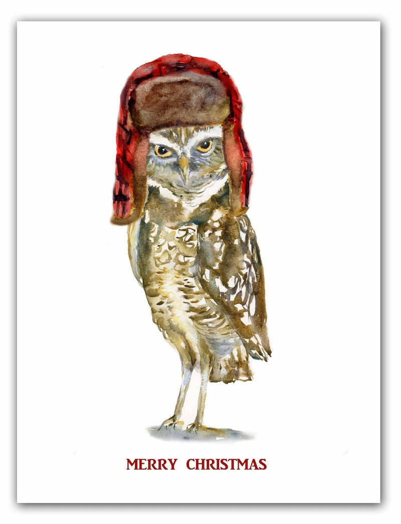 """""""Merry Christmas"""" owl card from Shirley Bell"""