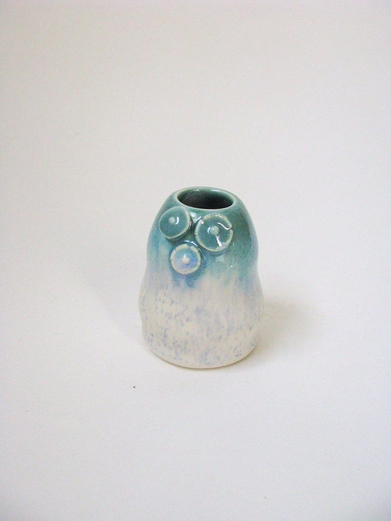Blue and white ceramic bud vase from Echo of Nature