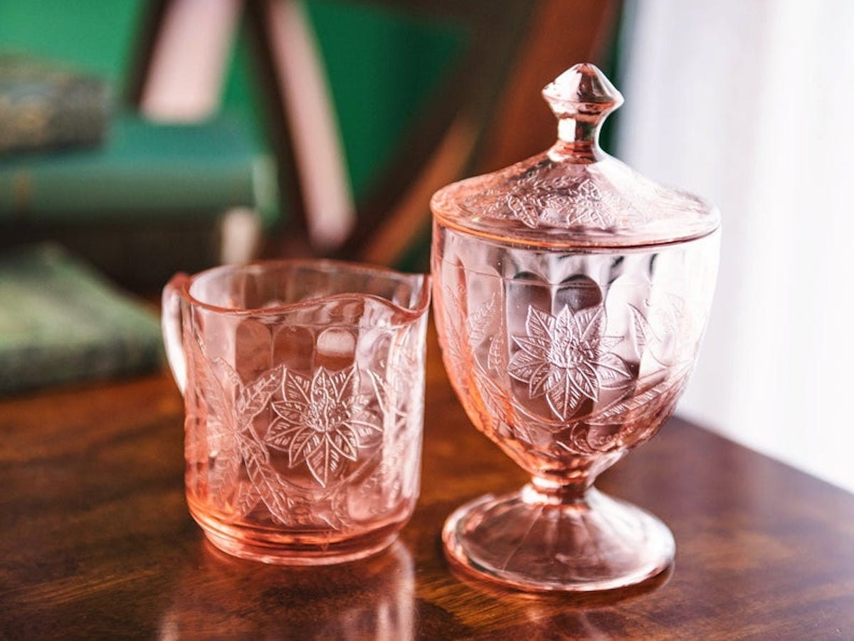 Pink Depression glass creamer and candy jar