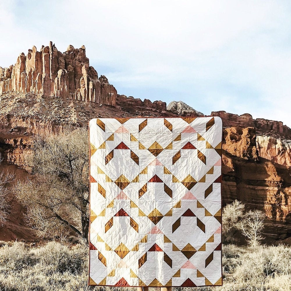 Mountain-inspired quilt pattern on Etsy