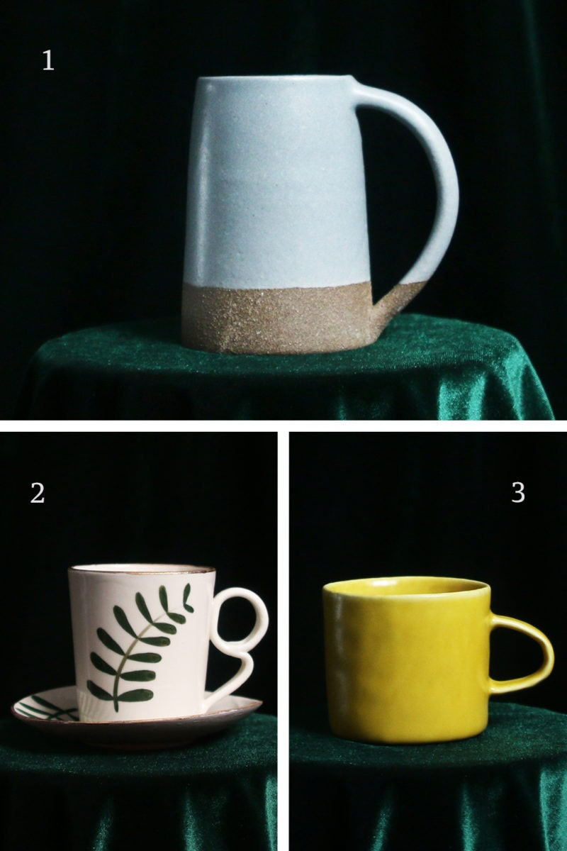 A collage of mugs for earth signs, including a sensible stoneware mug for Capricorn, a painted cup and saucer for Taurus, and a practical yellow mug for Virgo.