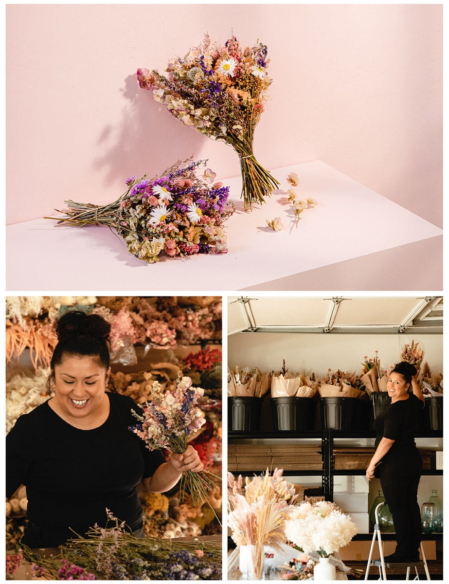 A collage of three images. Clockwise from top: Dried flower bouquets; the maker in their studio; a work-in-progress shot.