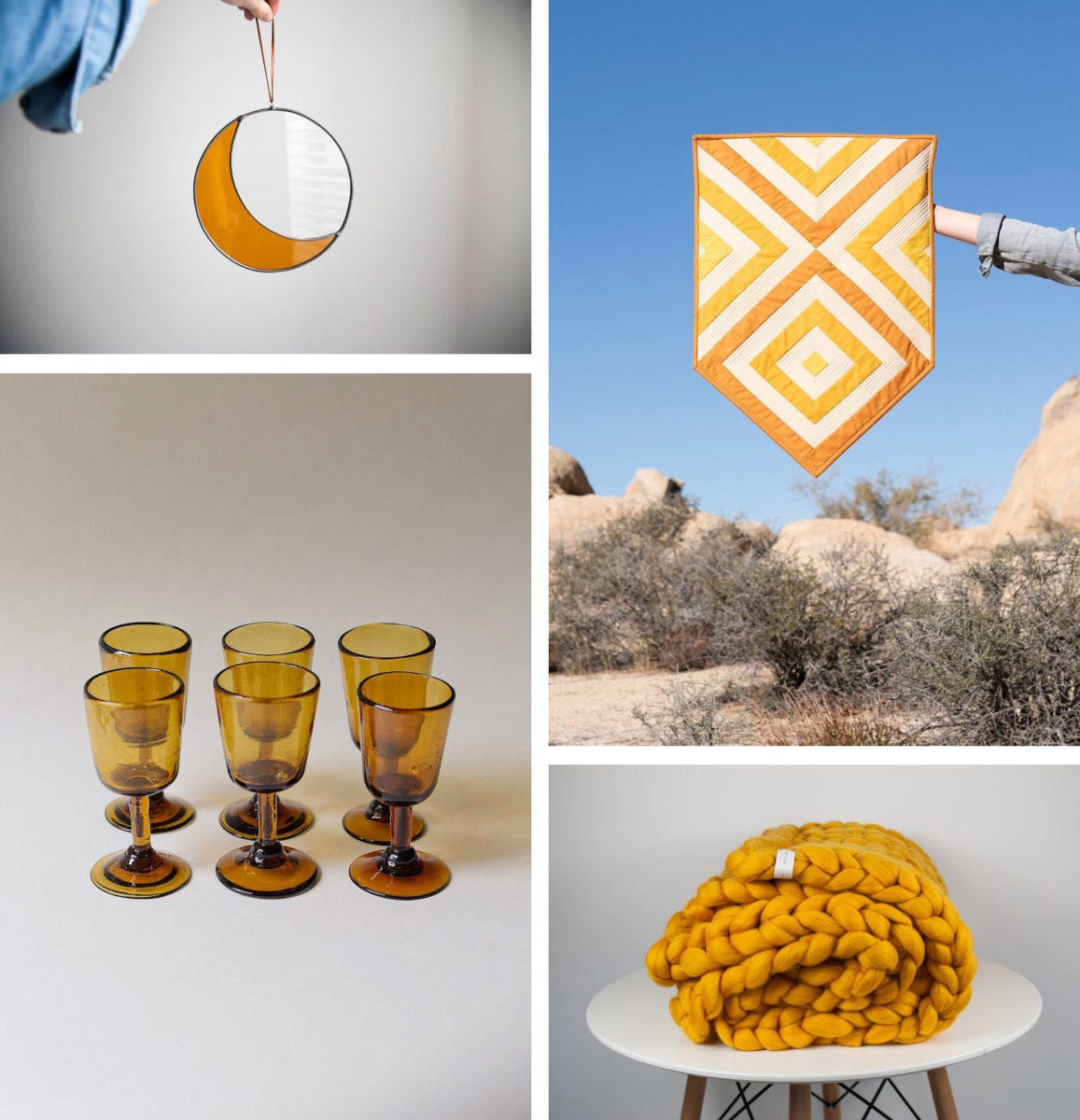 Glass and textile home decor accents from Etsy
