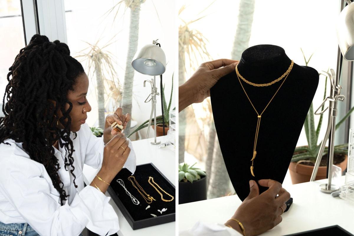 Omi Woods founder Ashley McFarlane in her jewelry studio.