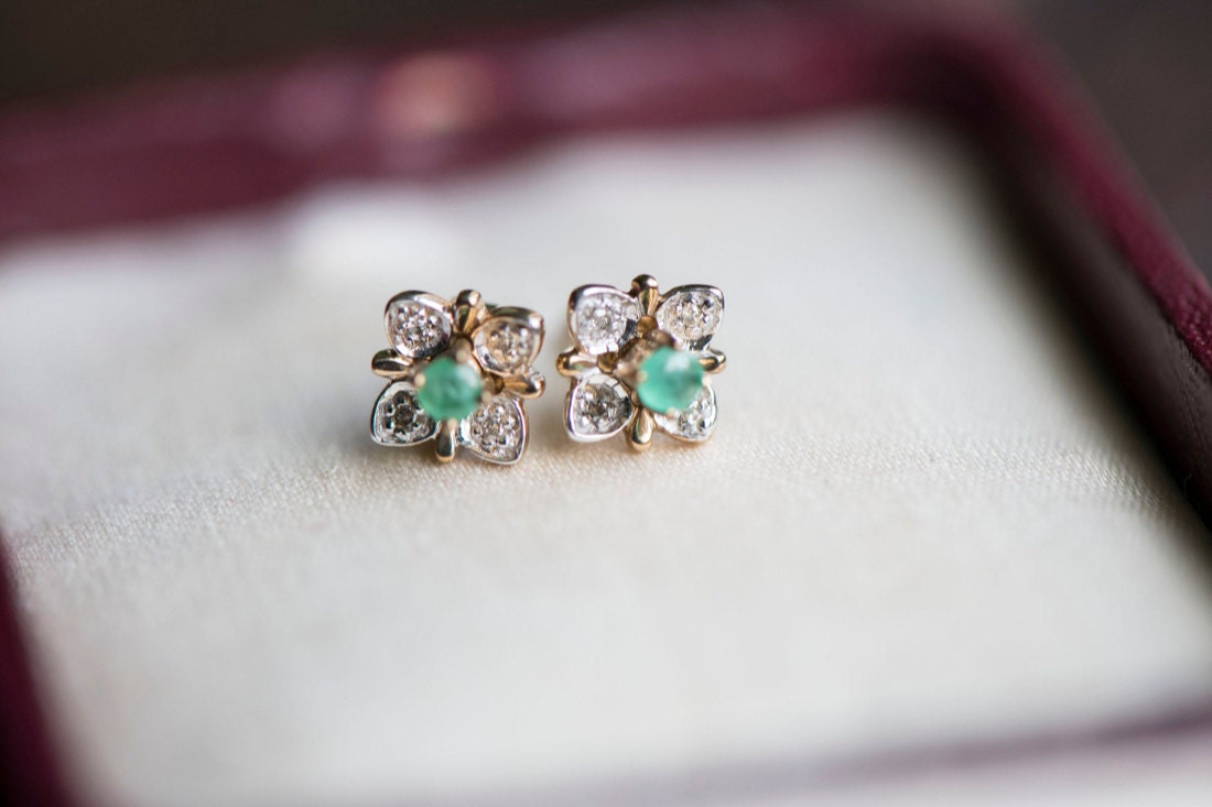 A set of interchangeable gemstone stud earrings from KK Vintage Collection (emerald pictured)