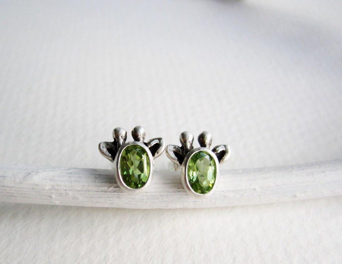 Peridot giraffe stud earrings from Every Bear Jewel