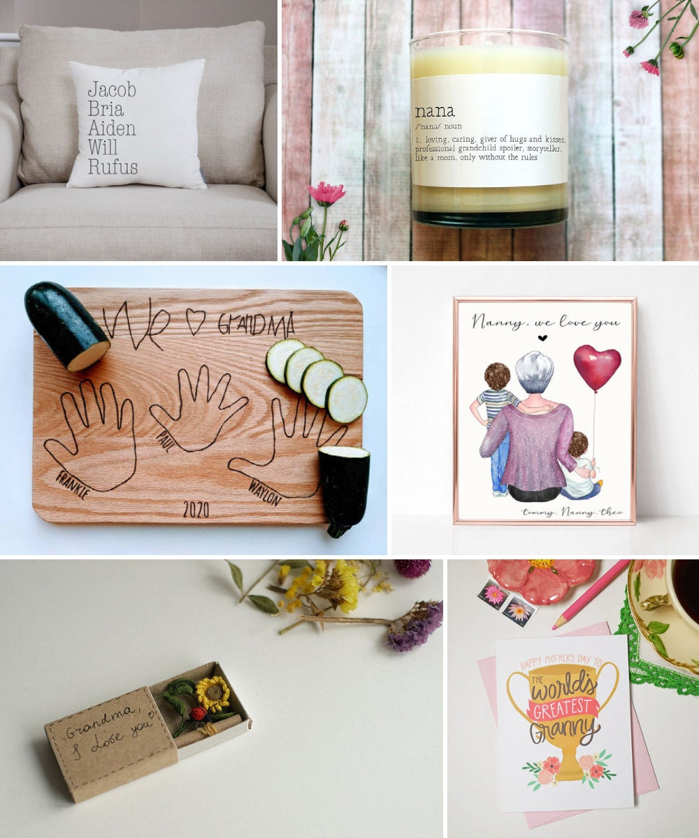 An assortment of 6 Mother's Day gifts for grandmas available on Etsy, including cards, custom cutting boards, candles, personalized portraits, and more.