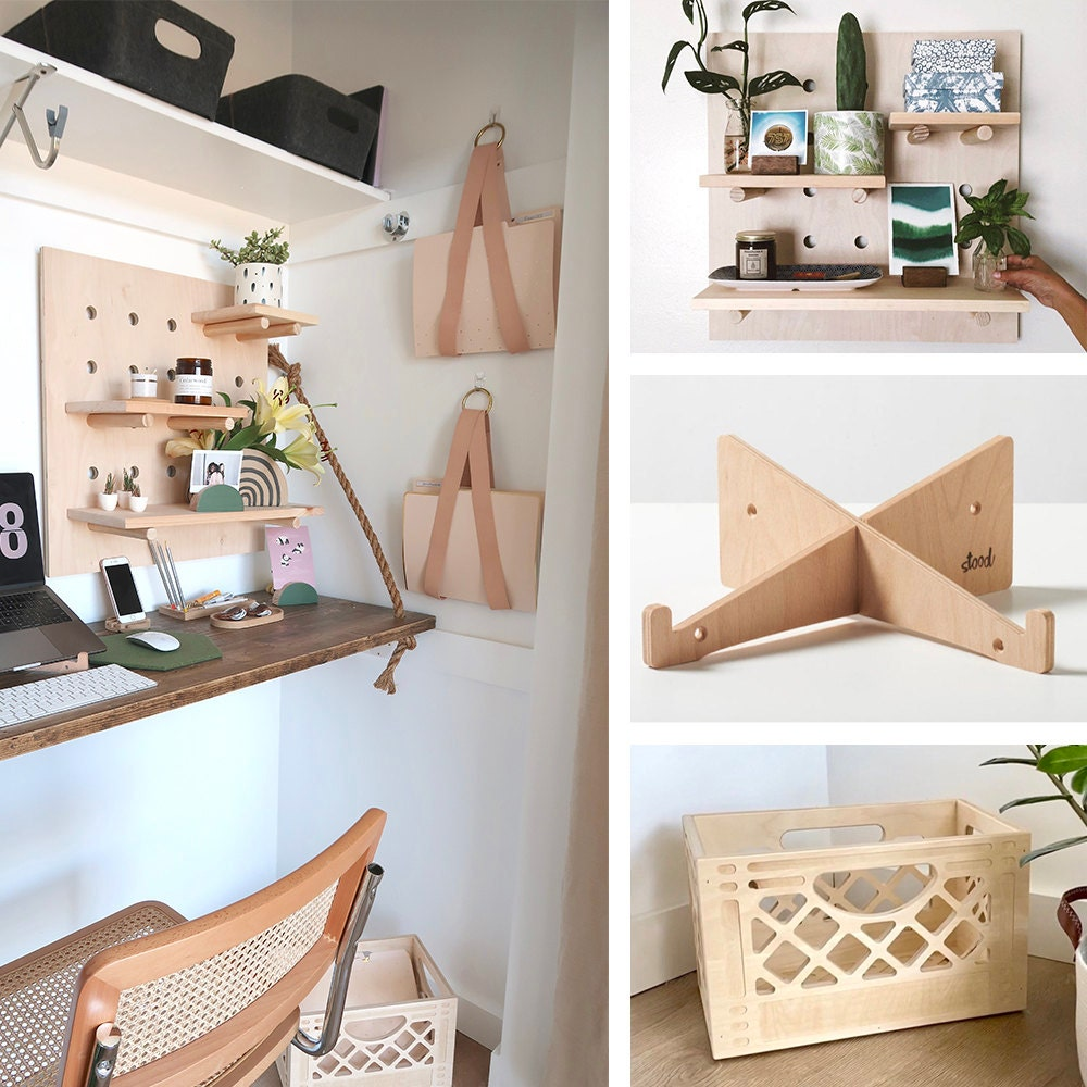 A collage of wooden storage solutions available on Etsy