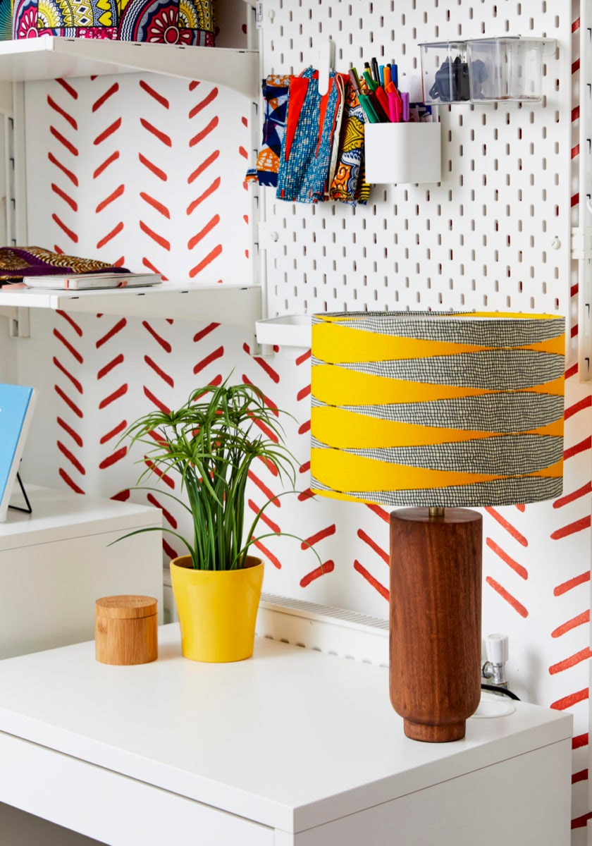 An inspiring nook in Natalie's home studio in London, outfitted with one of her yellow lampshades.
