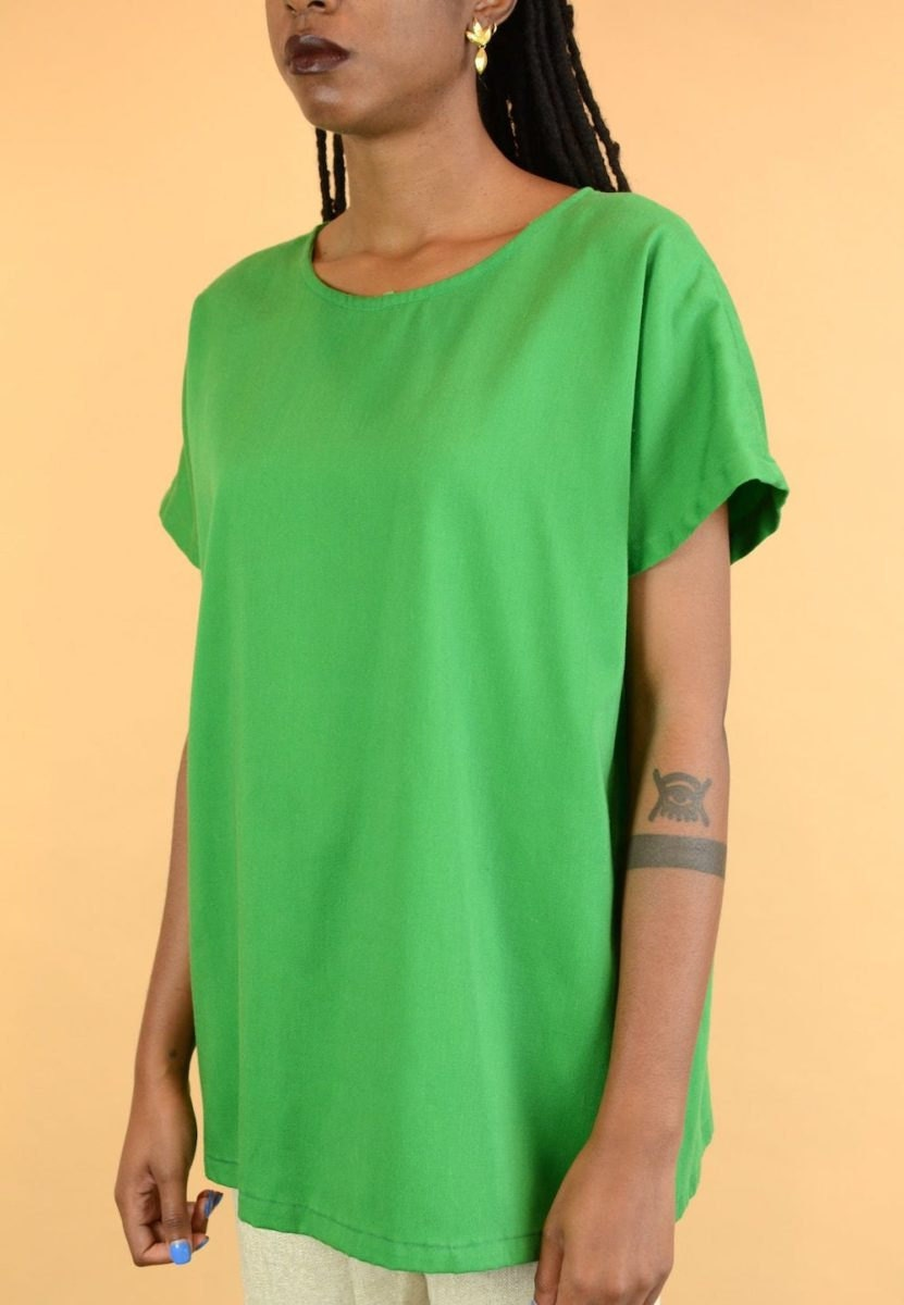 Vintage short-sleeved green blouse from MAW SUPPLY