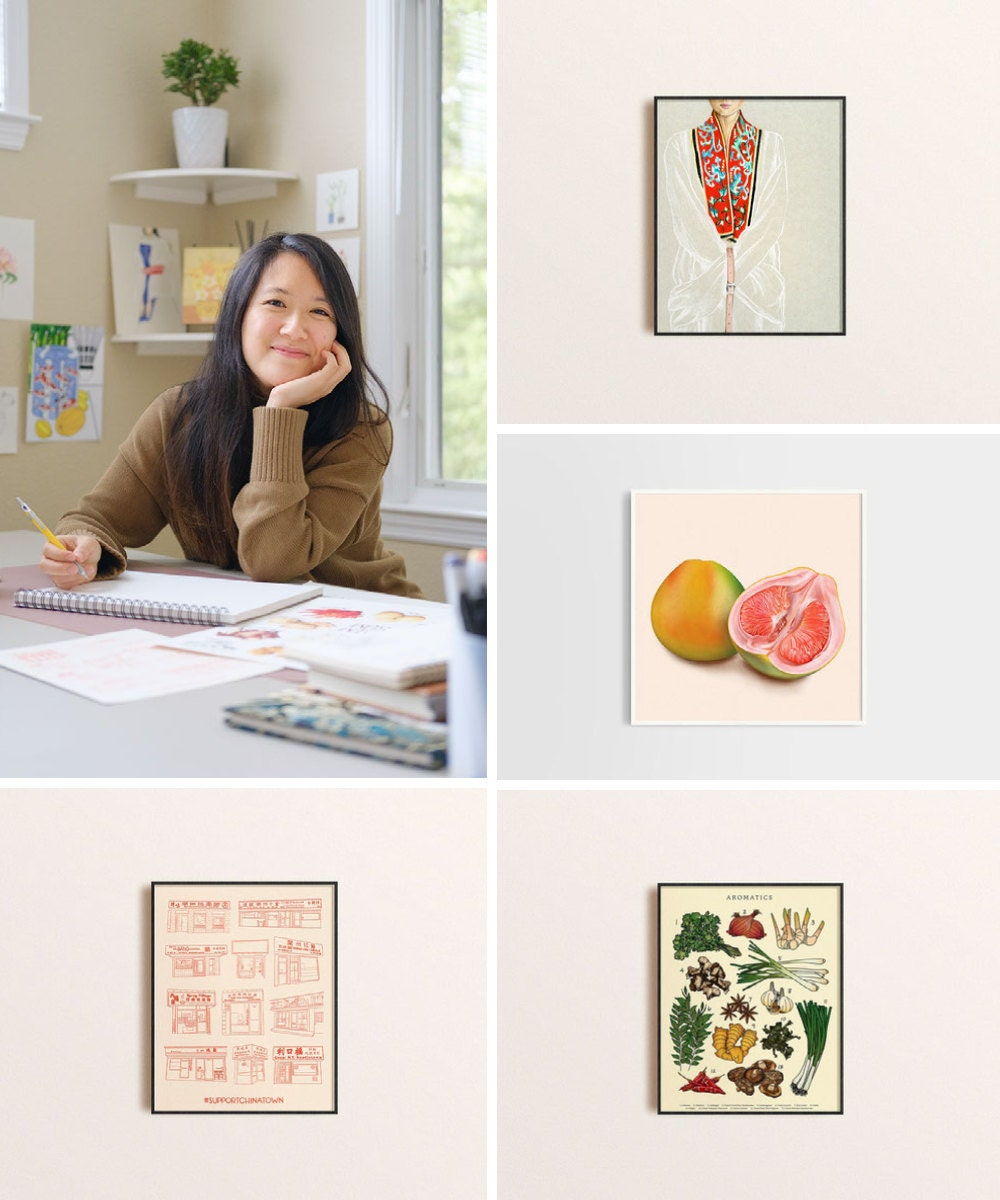 A collage of illustrated artwork by Felicia Liang including a portrait of the seller.