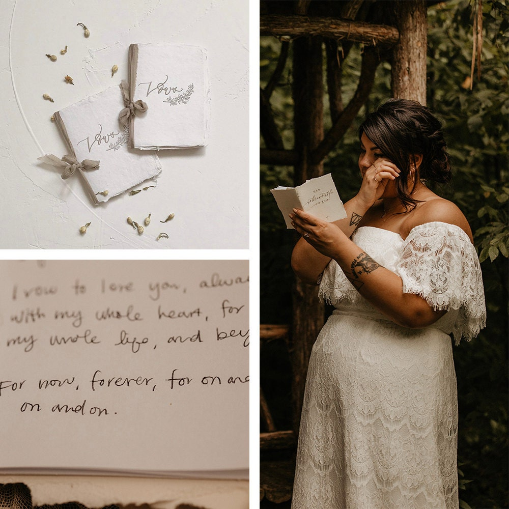 A collage showcasing Sarah and Chris's vow books, available to shop on Etsy.
