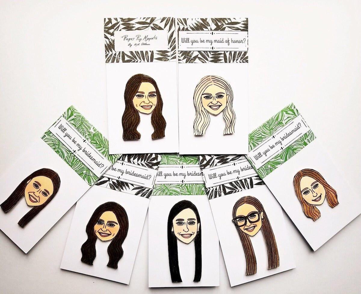 Custom bridesmaid magnets from Kit Atlas