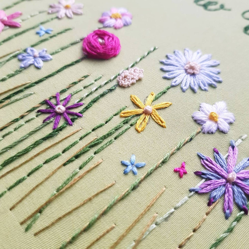 A closeup of embroidered florals