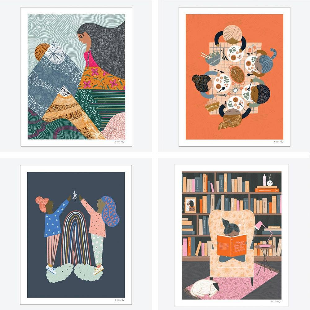 Assorted illustrated prints from Meenal Patel Studio