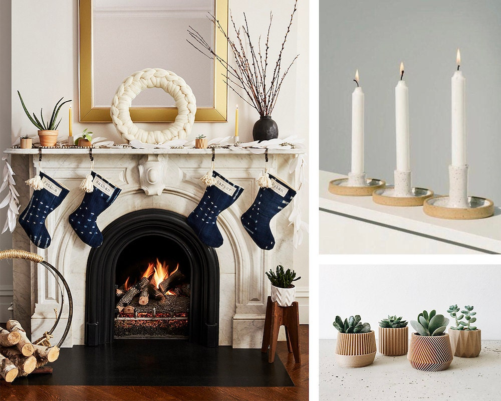 A collage of holiday decor items from Etsy