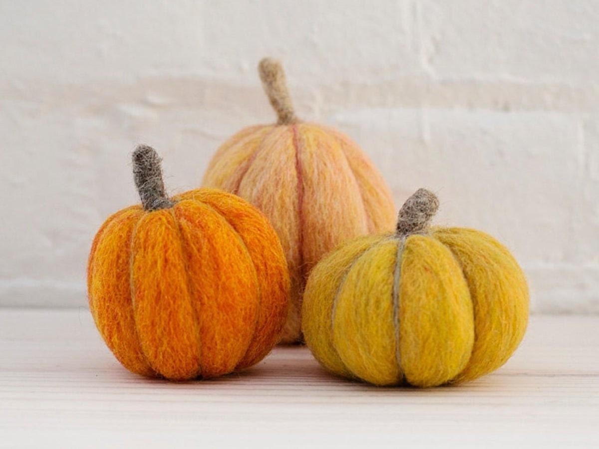 Trio of felted pumpkins