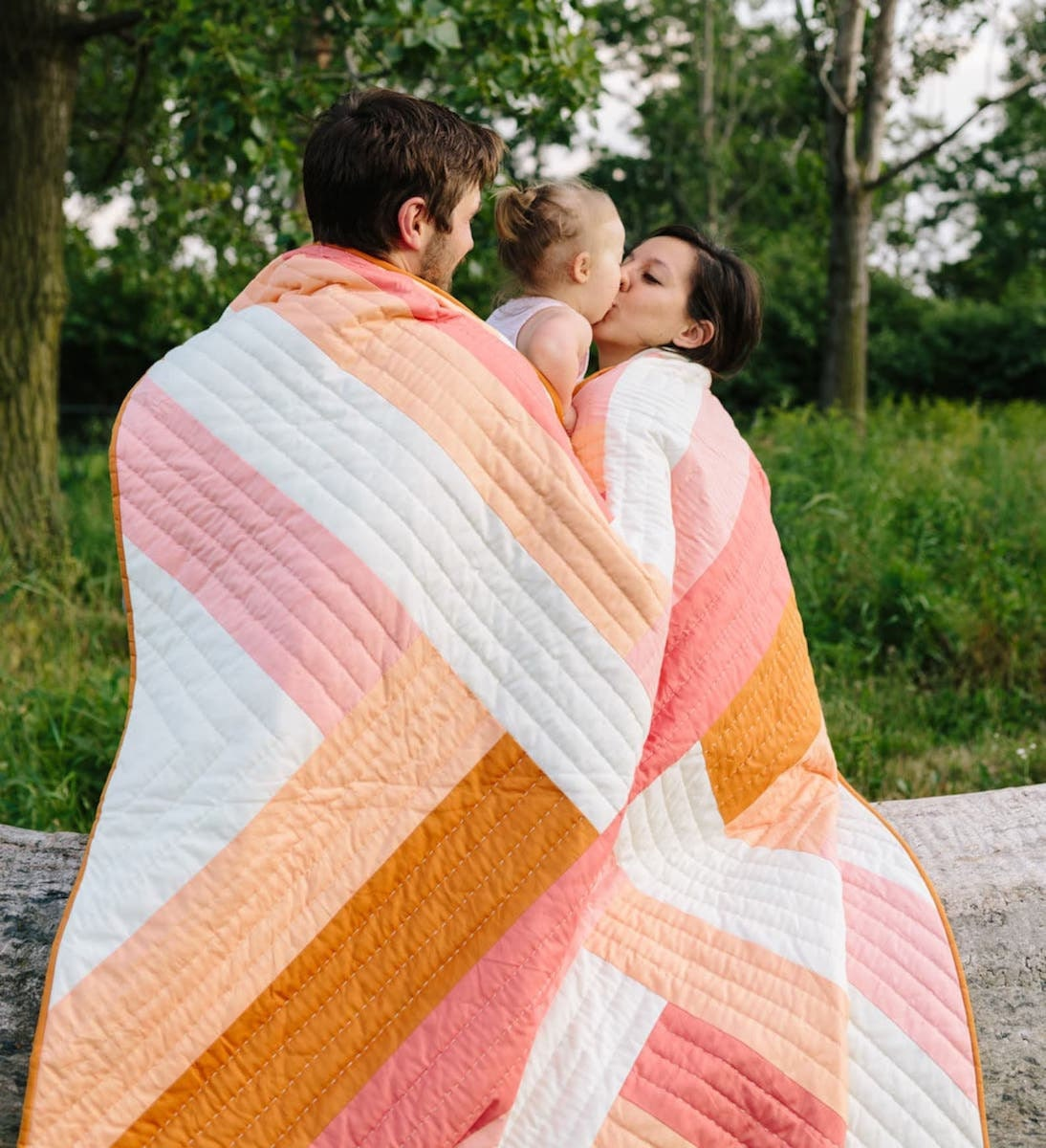 A warm, ombré striped quilt pattern from Etsy