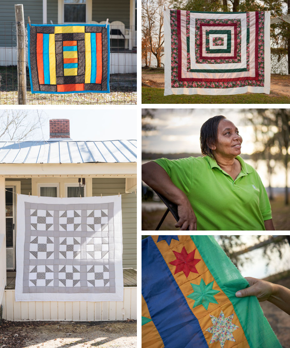 A collage of Gee's Bend quilter Emma Mooney Pettway and her quilts.
