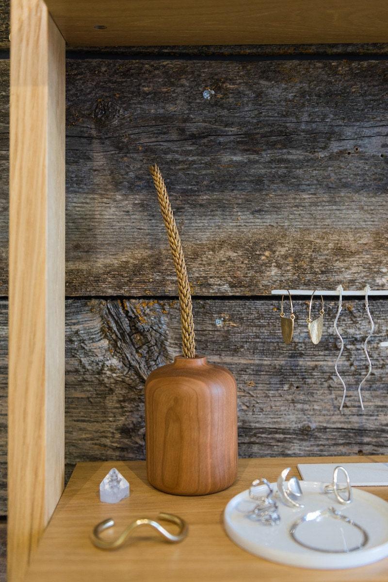 Hardwood bud vase from Melanie Abrantes on display at Crown Nine