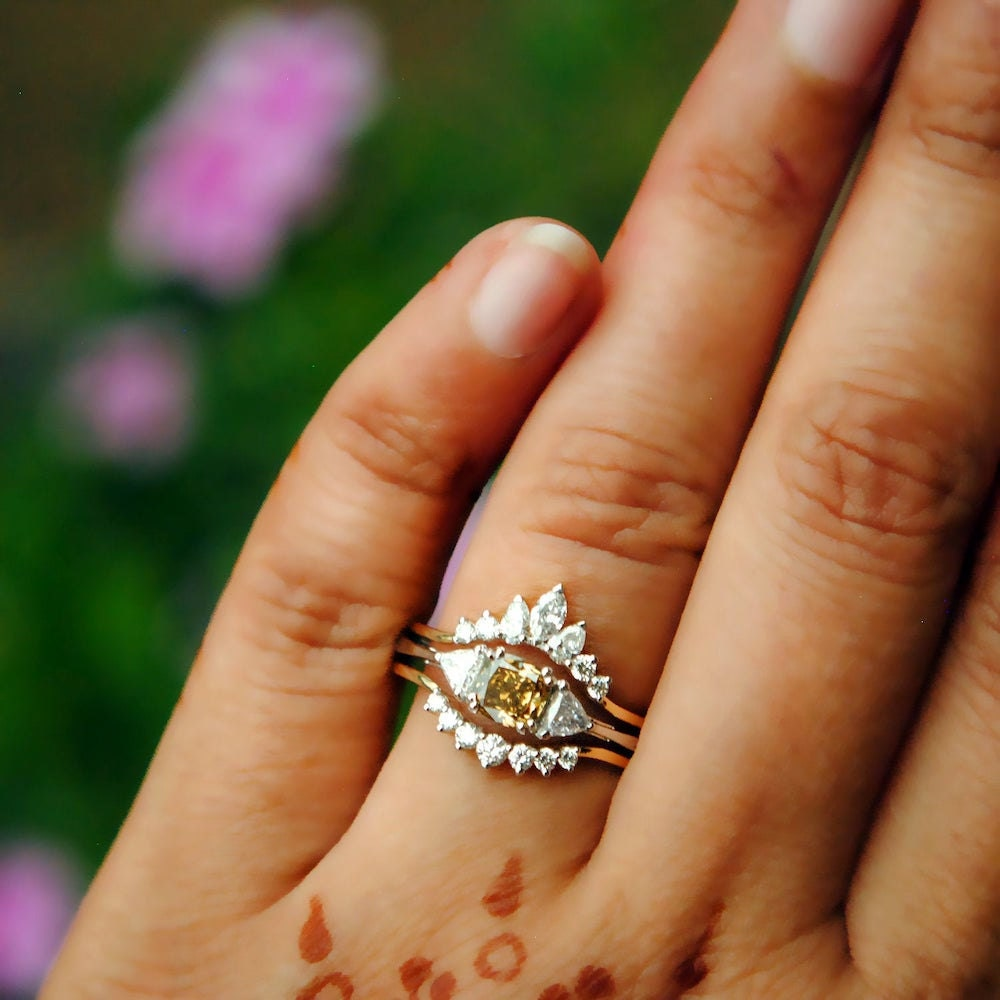 Champagne diamond engagement ring and diamond ring guard set from Abhika Jewels