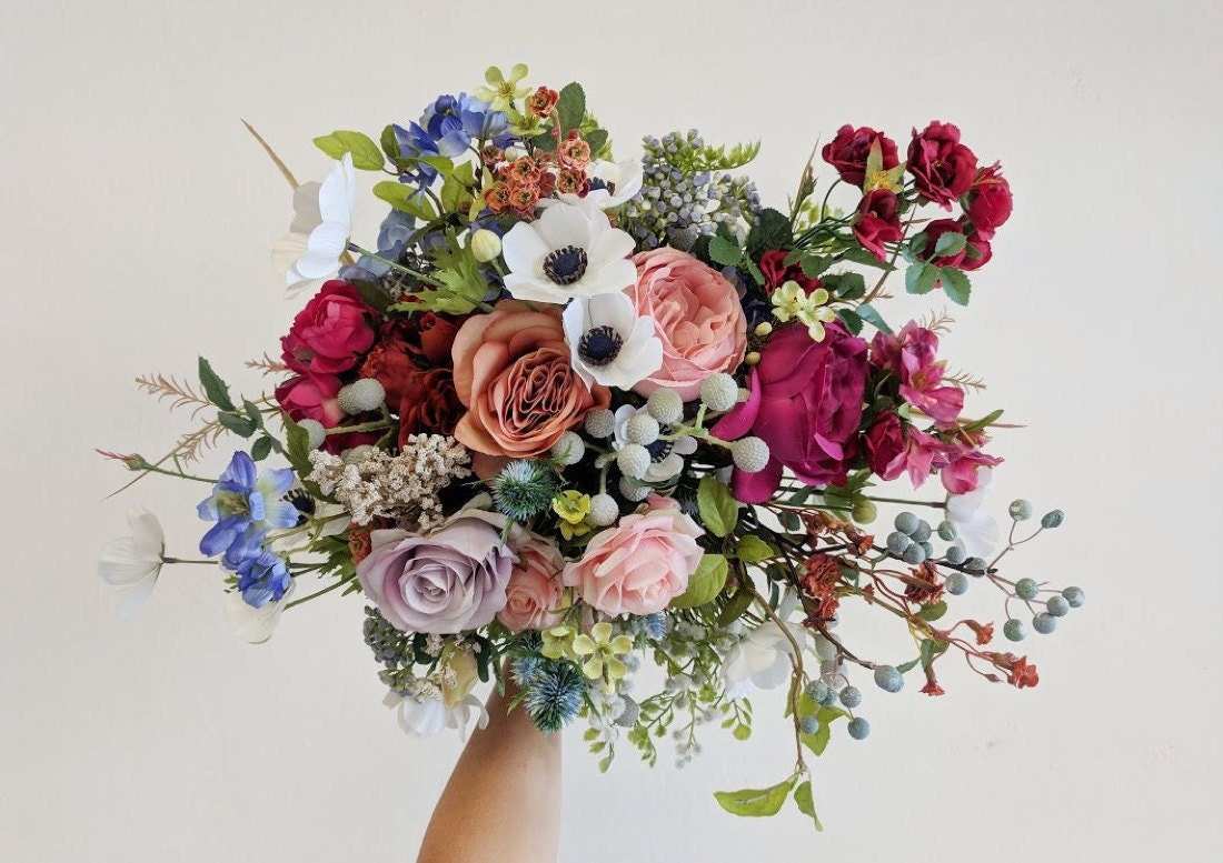 An example of a vibrant, multicolored silk bouquet from The Faux Bouquets