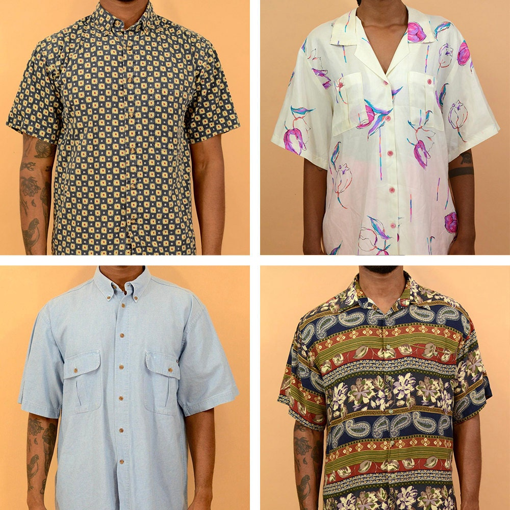 A collage of button-down short-sleeved shirts available from MAW SUPPLY.