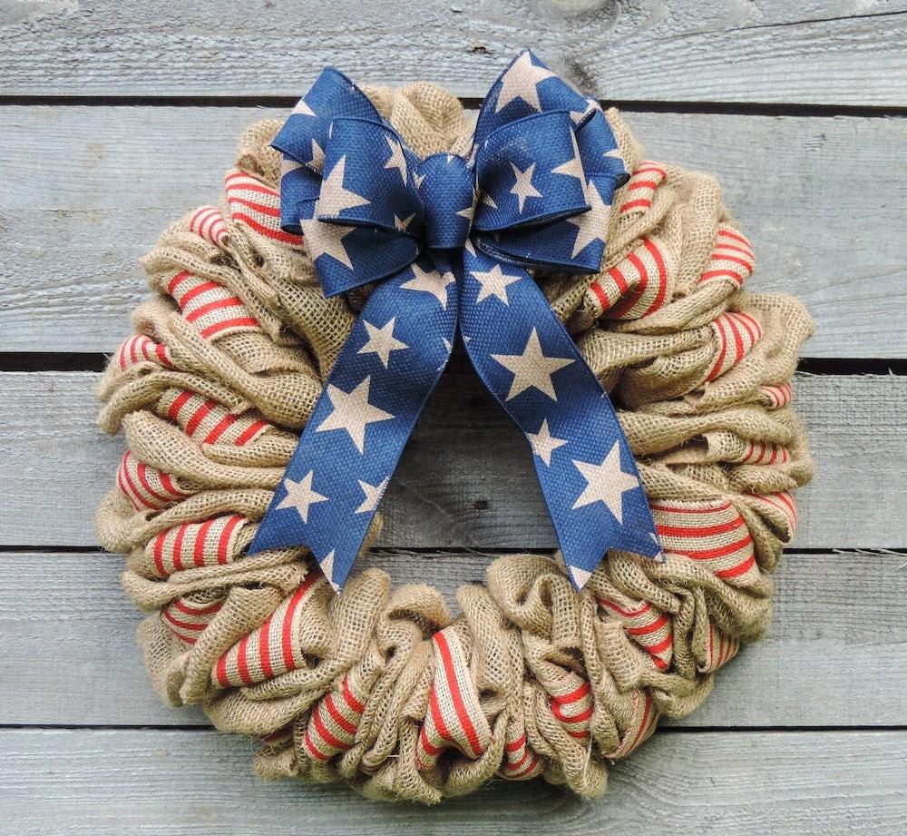 Rustic burlap Memorial Day wreath from Etsy