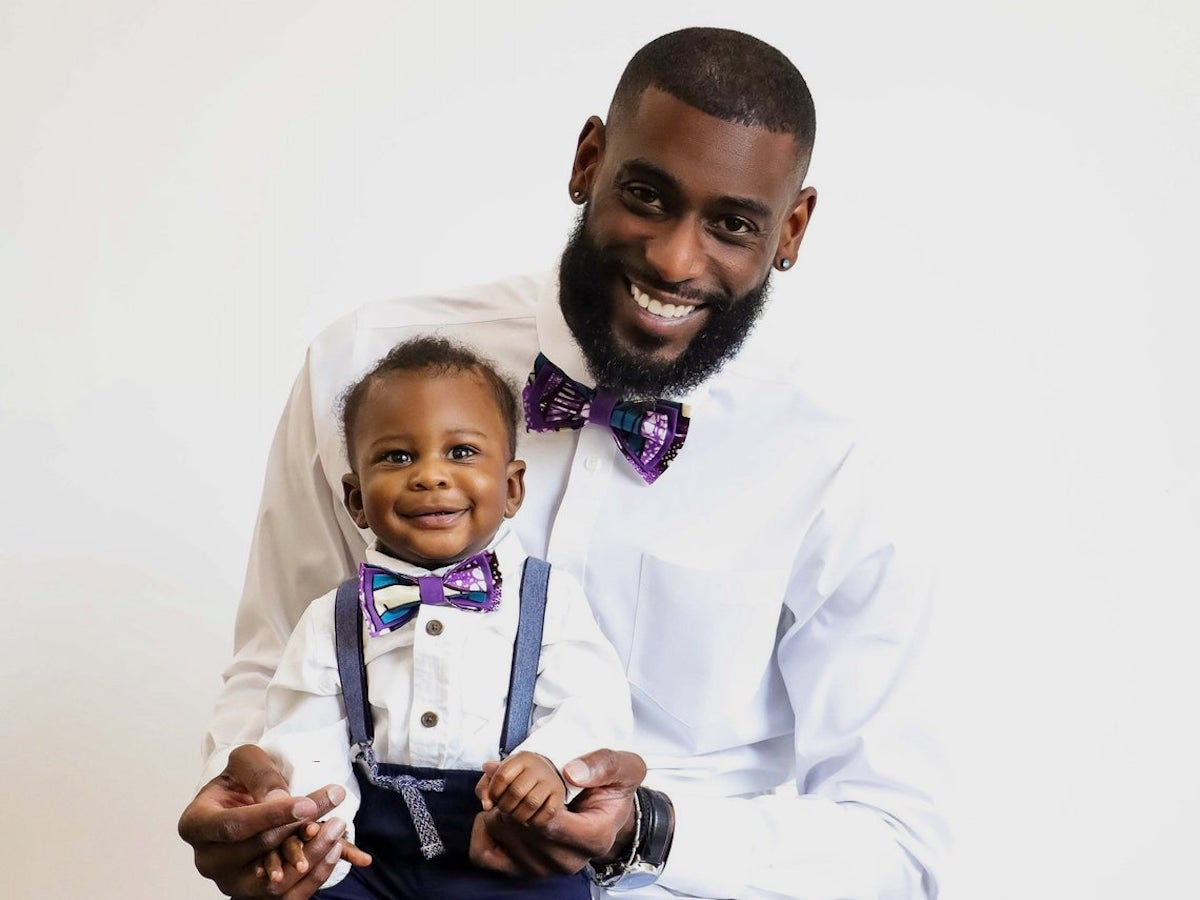 An man and baby boy modeling matching groomsmen bow ties from GabeJade