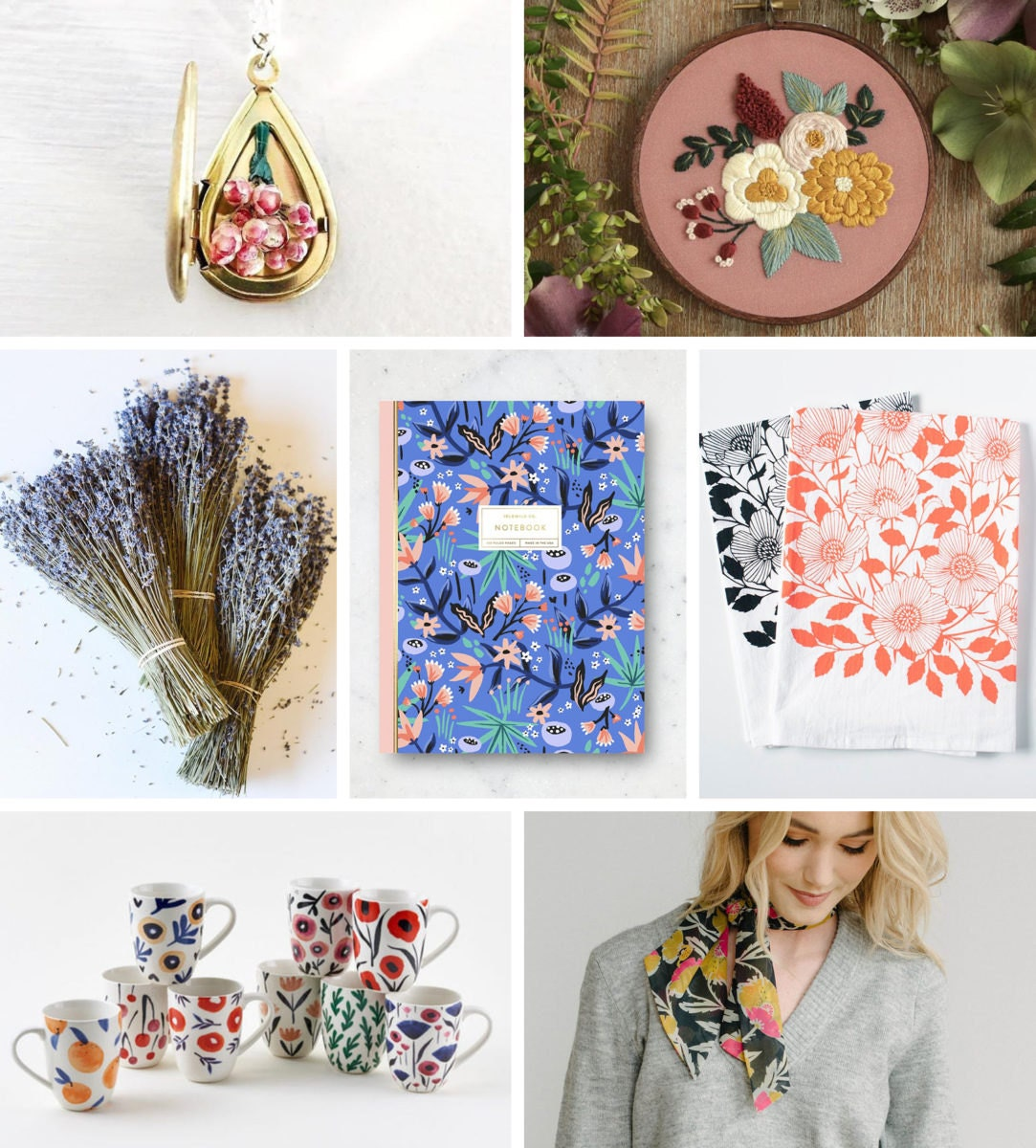 A collage of floral-themed finds from Etsy