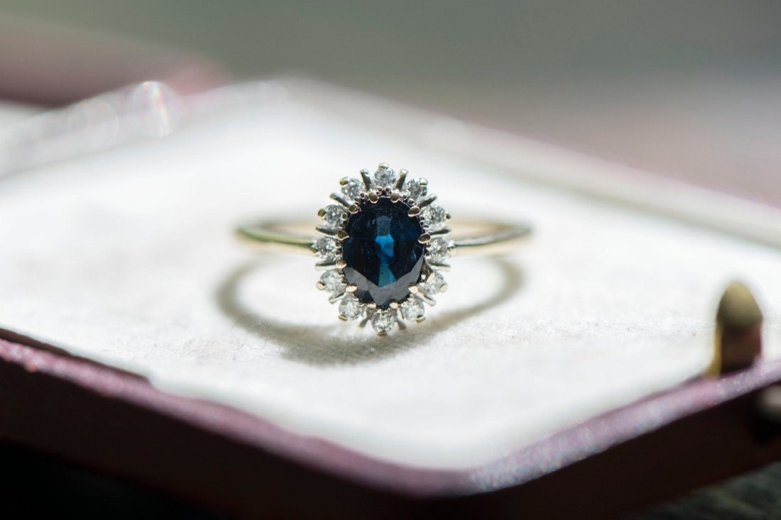 A sapphire and diamond engagement ring from KK Vintage Collection