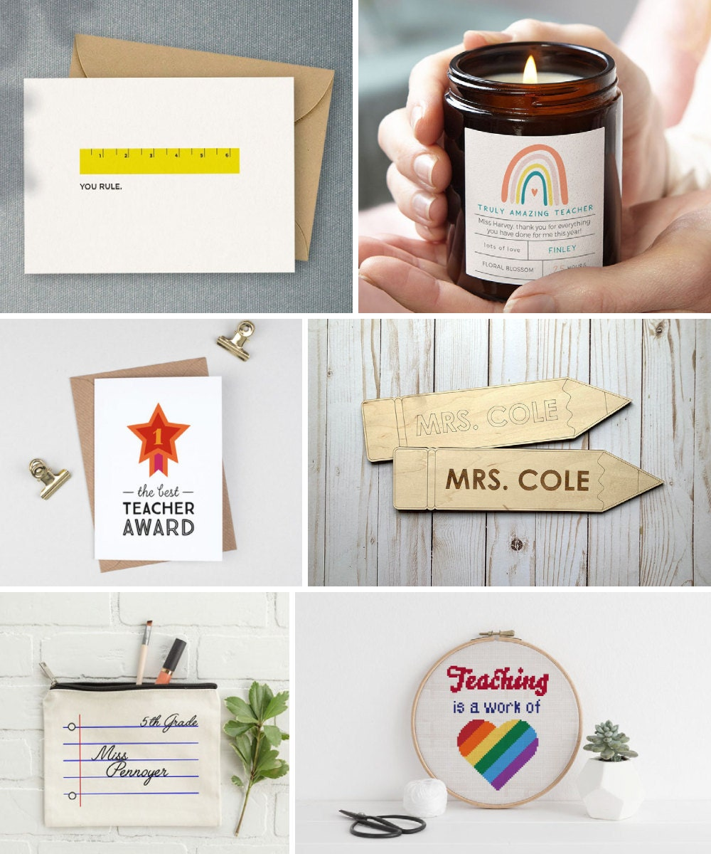 Teacher appreciation gifts and other back-to-school supplies from Etsy