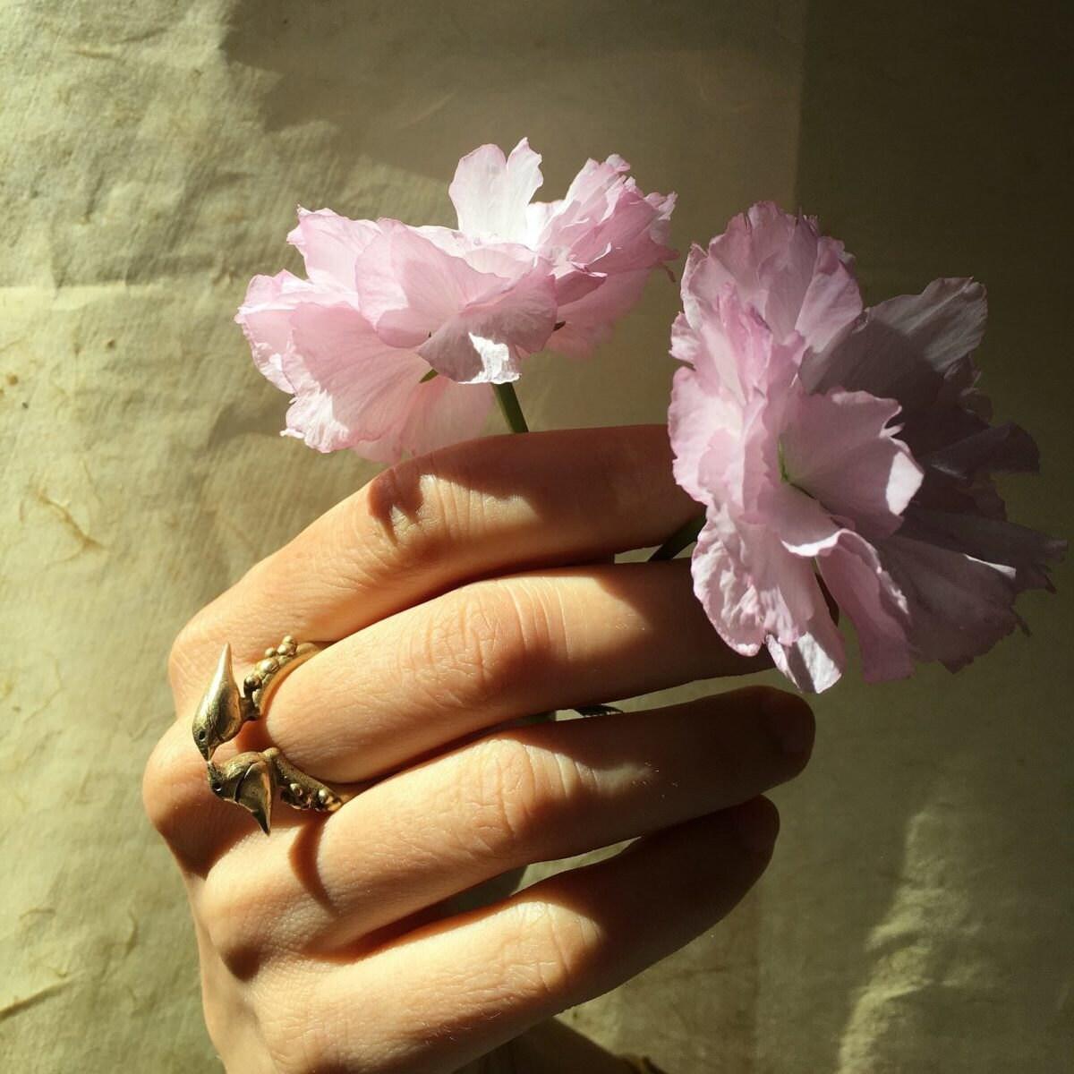 "A ""birds in love"" ring from Mai Solorzano"
