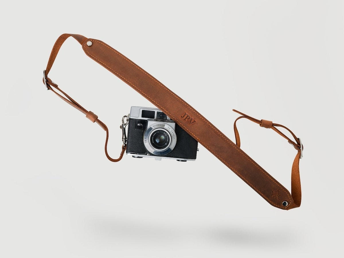 Custom leather camera strap from Pegai, and other personalized Father's Day gifts from Etsy