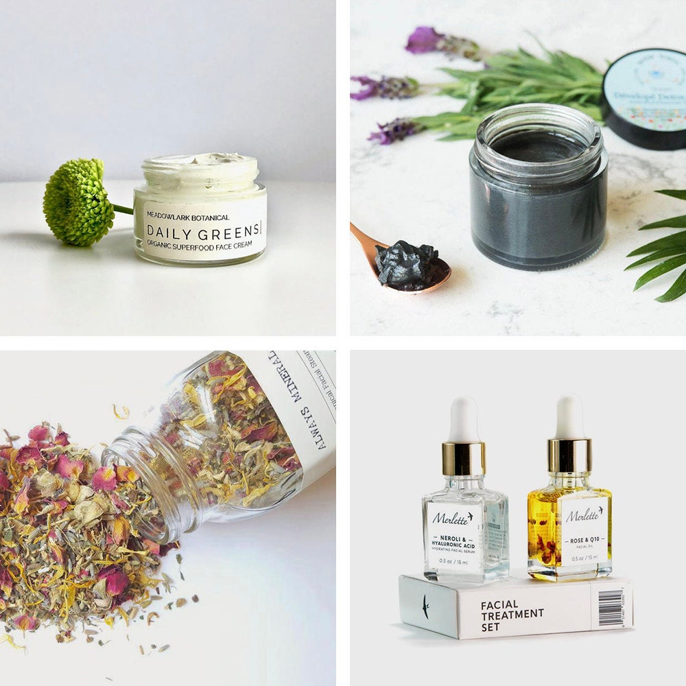 A collage of facial treatment finds from Etsy