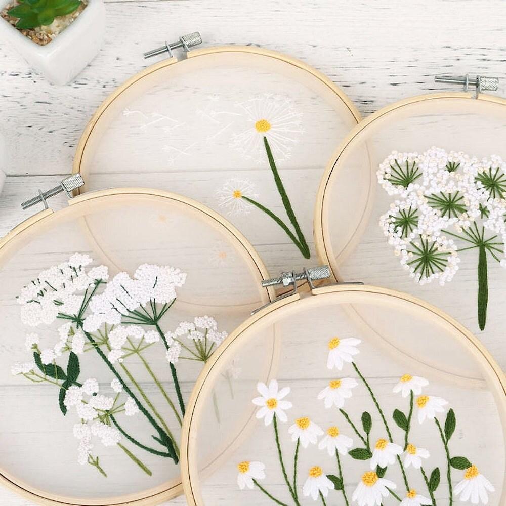 Transparent floral embroidery kit from Lemon Art Crafts