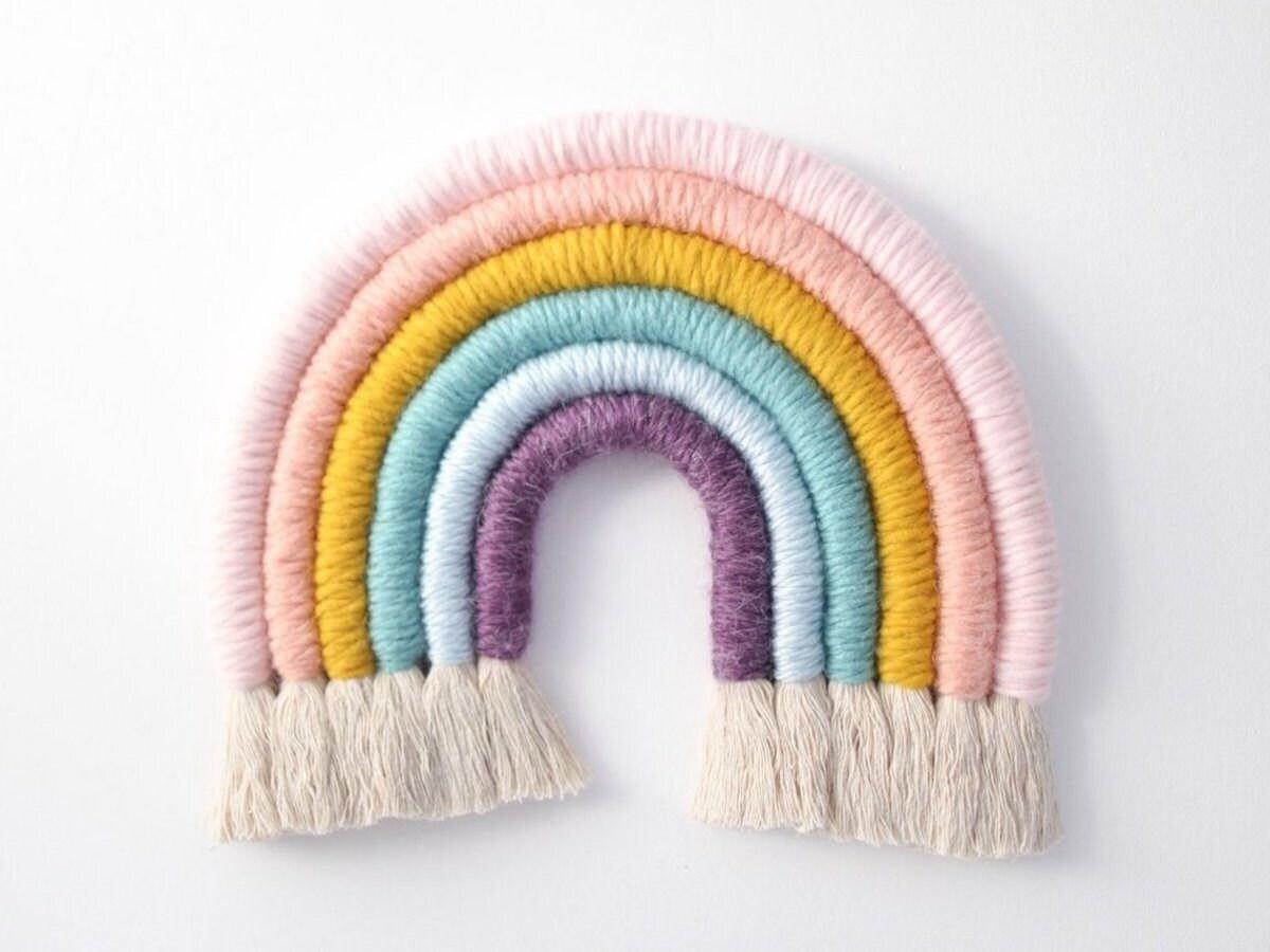 Rainbow fiber art wall hanging
