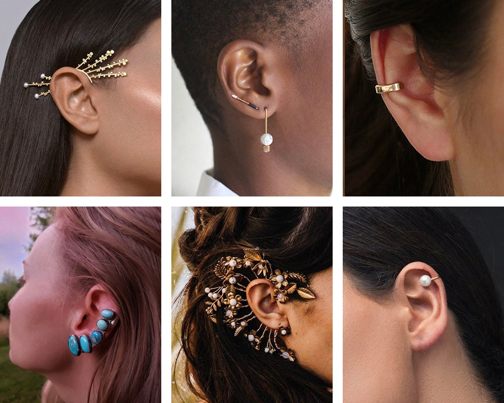 A collage of ear cuffs from Etsy