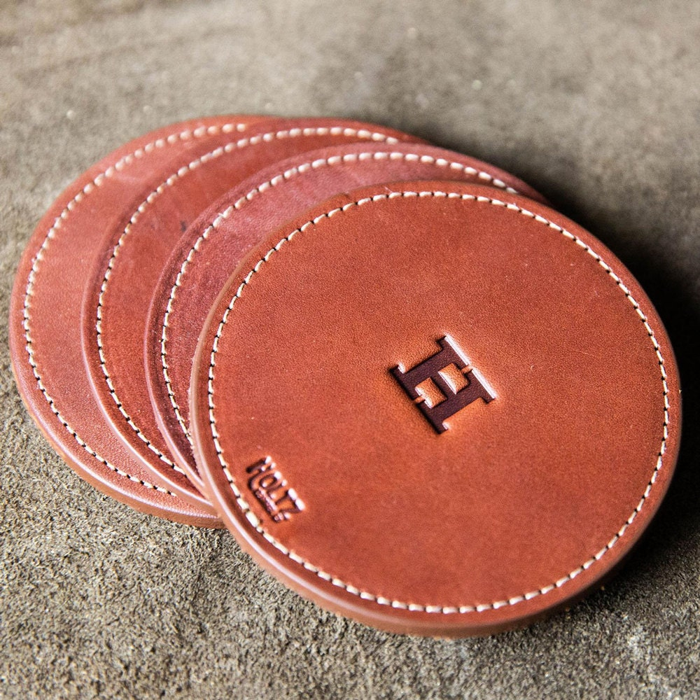 Monogrammed leather coasters from Holtz Leather Co.