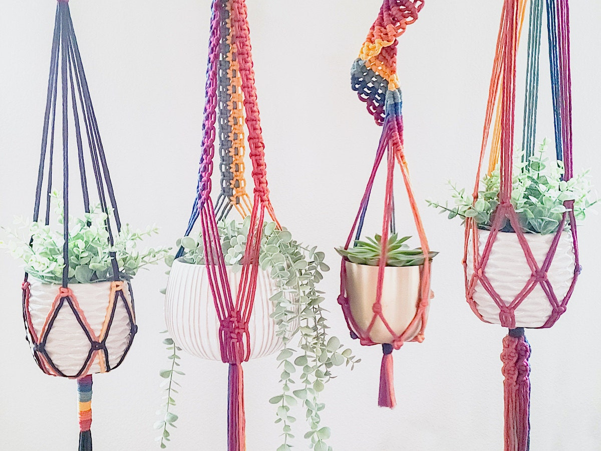 Multicolored macrame hanging planters from Sweet Home Alberti